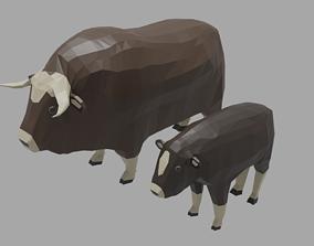 Cartoon Musk Ox Family 3D model