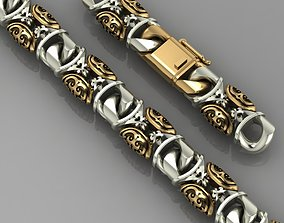 Miami cuban link chain bracelet with 3D printable model 2