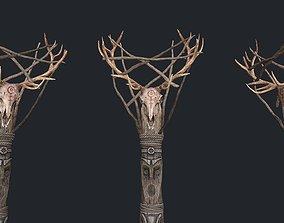 3D model Totem wood Skull 4k