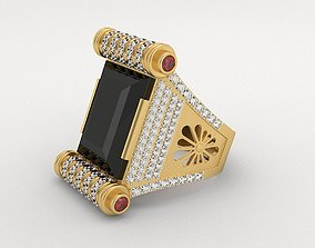 3D print model Royal Gold Gents Ring - Black