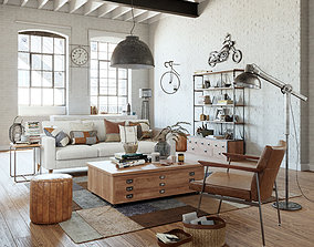 3D Industrial Living Interior scene