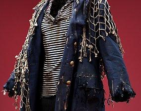 Marine Fishnet Coat Cosplay Costume 3D asset