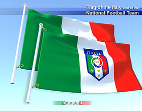 3D asset Flag of the Italy and of the National Football