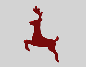 Low Poly Reindeer Silhouette Decorative Object 3D model