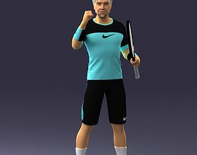 Male tennis player with racket 0460 3D Print Ready