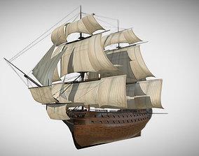 3D asset game-ready HMS Vanguard Sailing ship