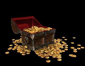 medieval treasure chest-animated knight 3D