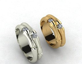 bamboo wedding rings 3D print model
