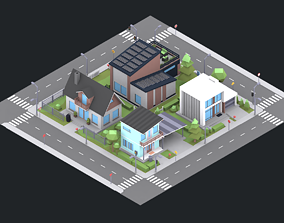 3D model city buldings scene low poly