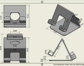 3D print model Universal phone holder with rear USB