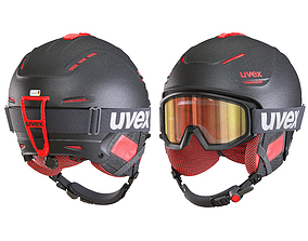 Ski Helmet and Goggles Uvex 3D model