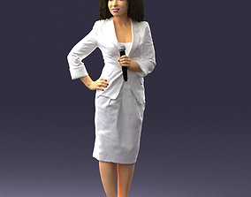 Girl with microphone in white suit 0217 3D Print Ready