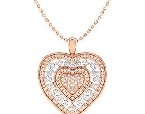 Royal heart pendant 3dm stl render detail