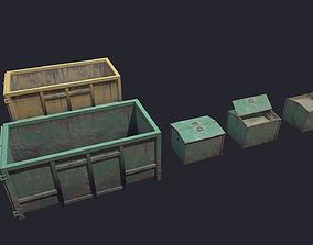 3D asset low-poly Container dump