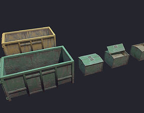 3D asset low-poly Container dump