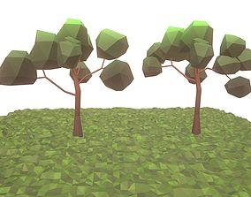 3D asset Low Poly Broadleaf Trees