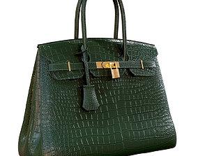 3D asset Hermes Birkin Bag Green Crocodile Leather