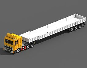 Voxel Truck And Flatbed Trailer 3D asset
