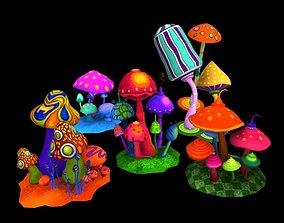 realtime Cartoon Musroom 3D Model
