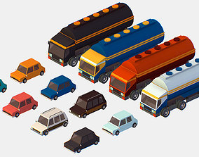 realtime Isometric style commercial vehicle tank 3d model