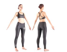 Female sport 16 3D asset low-poly