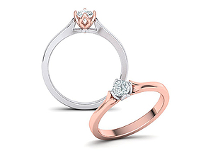 3D printable model 4claws Solitaire Engagement ring 3