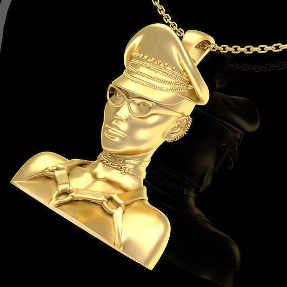 Spectacled Girl Pendant Jewelry Gold 3D print model