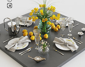 Serving with yellow tulips 3D