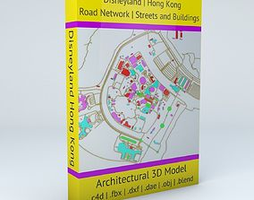 3D Disneyland Hong Kong Road Network Buildings and Streets