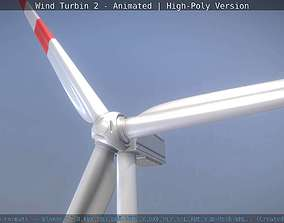 Animated Wind Turbin 2 - High-Poly Version 3D model