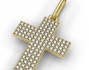 3D printable model cross four lines gems