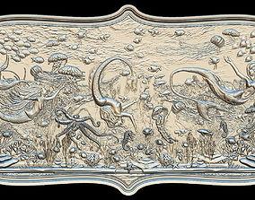 Aquatic Mermaid Theme Panno v3 for CNC Relief engraving 3D