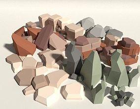 Low Poly Rock Pack 3D asset