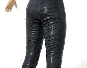 3D asset Trousers Shiny Leather Black women Men Clothing