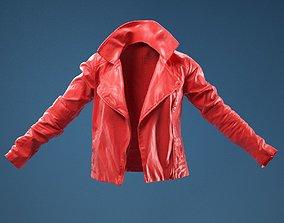 Dark Brown Leather Jacket Open 3D