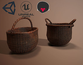 Wicker Baskets Low poly PBR Game ready 3D model