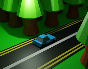 3D asset Spooky Road with trees