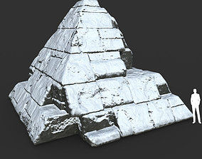 Low poly Snow Ruin Medieval Construction 03 3D model
