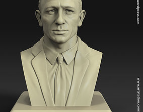 Daniel craig james bond bust statue for 3d