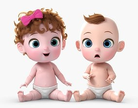 Cartoon Baby Twin Rigged 3D model