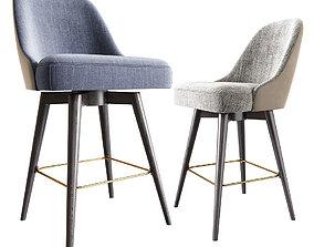 Mid-Century Upholstered Swivel Counter Stool 3D model