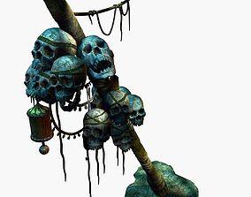 skeleton totem pillar column ruin wasteland tribe 3D model