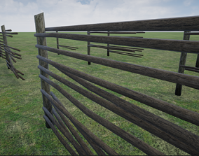 3D model Lowpoly Modular Stick Fences