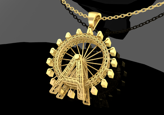 Ferris Wheel Pendant Jewelry Gold 3D print model