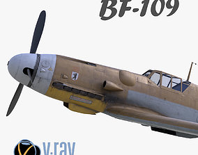 3D model BF-109 German fighter V-Ray materials low-poly 1