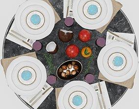 orange Table setting 3 3D