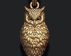 owl pendant 3D print model jewellery