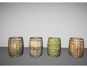 3D asset low poly wooden barrels pack