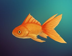 3D asset Lowpoly Hand painted GoldFish
