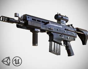 FN SCAR - H QCB - With Attachments - Highly 3D model 2